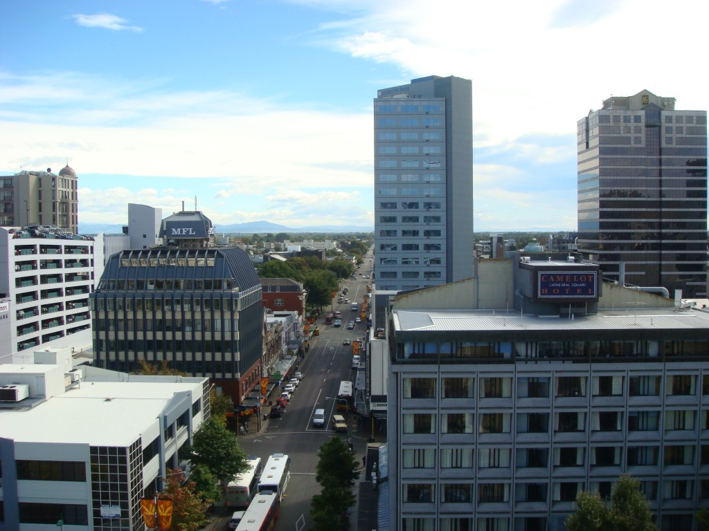 View uptown from the Church Cathedral that sadly collapsed in February 2011.