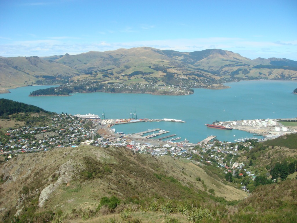 From the top of the chairlift in Christchurch.  Looking northeast down on Lyttolton and it's harbour. Can you spot the Vollendam ?