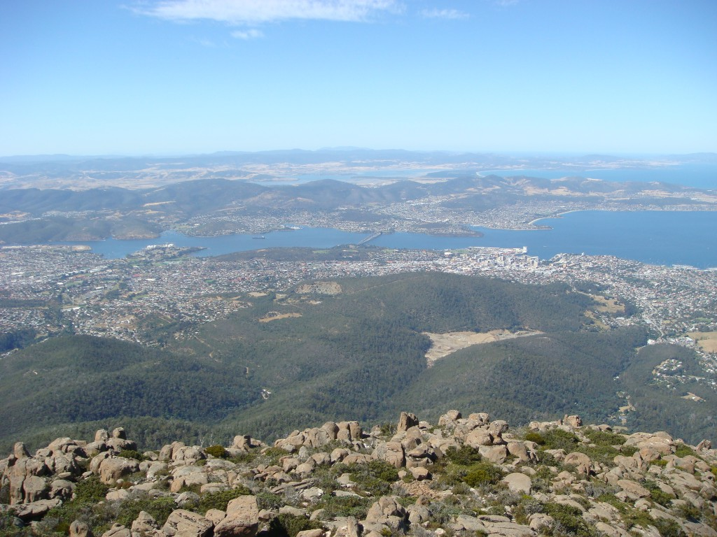 Hobart, on the Derwent River, from Mount Wellington.  Tasmania.  2010.