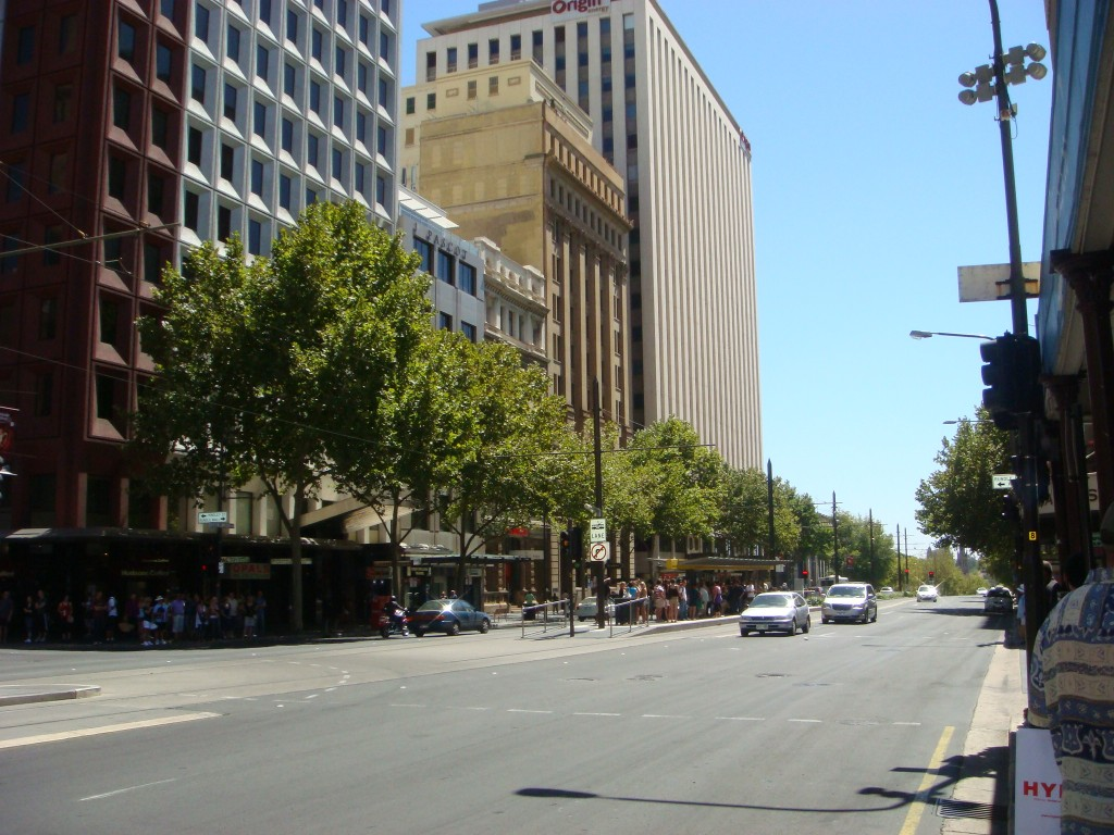 Down town Adelaide, SA. 2010. Traffic chaos !