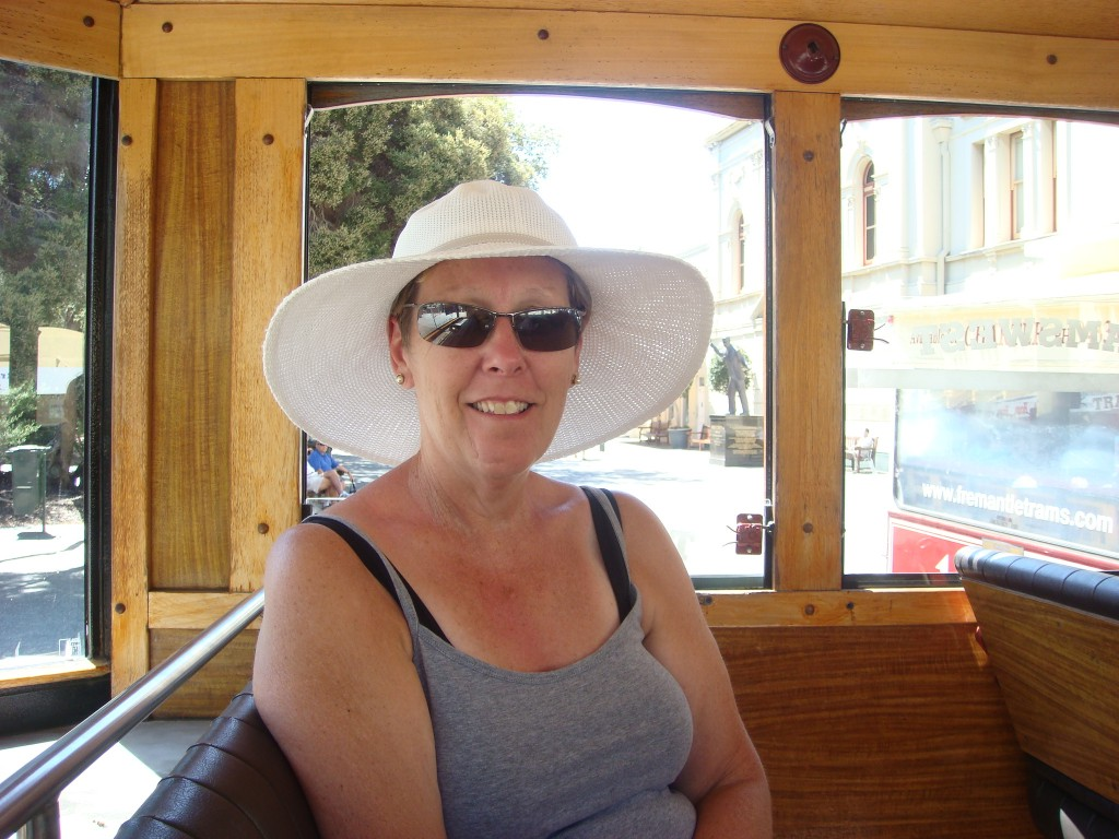 Pam on the tourist shuttle, Fremantle, WA. 2010