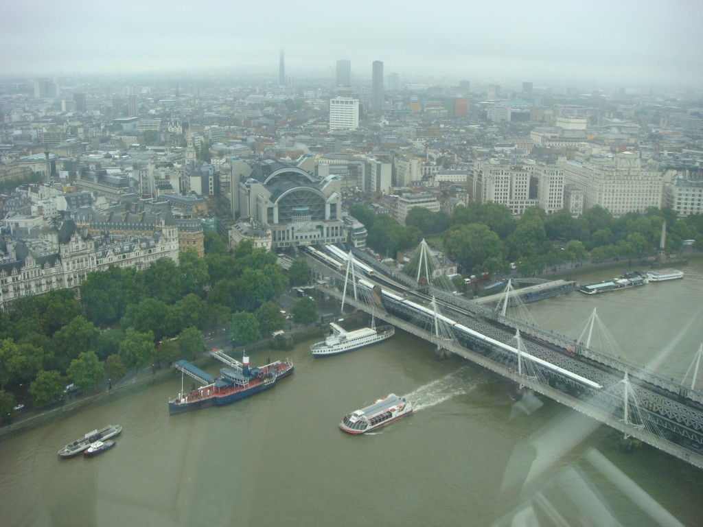 A wet morning on the London Eye, England.  2010