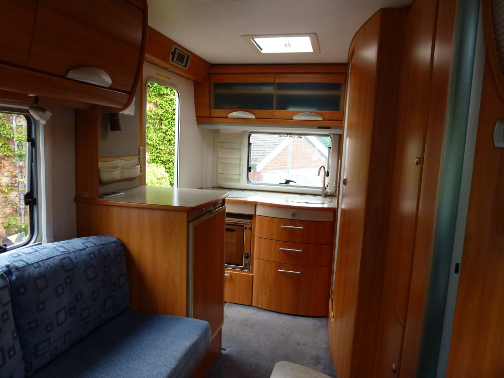 Hymer rear kitchen.