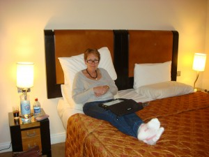 Pam settles into the Grand, Tralee, Ireland.  2011