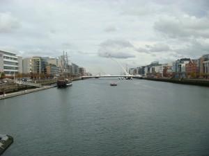 The Liffey River, towards the Harp Bridge, Dublin.  2011