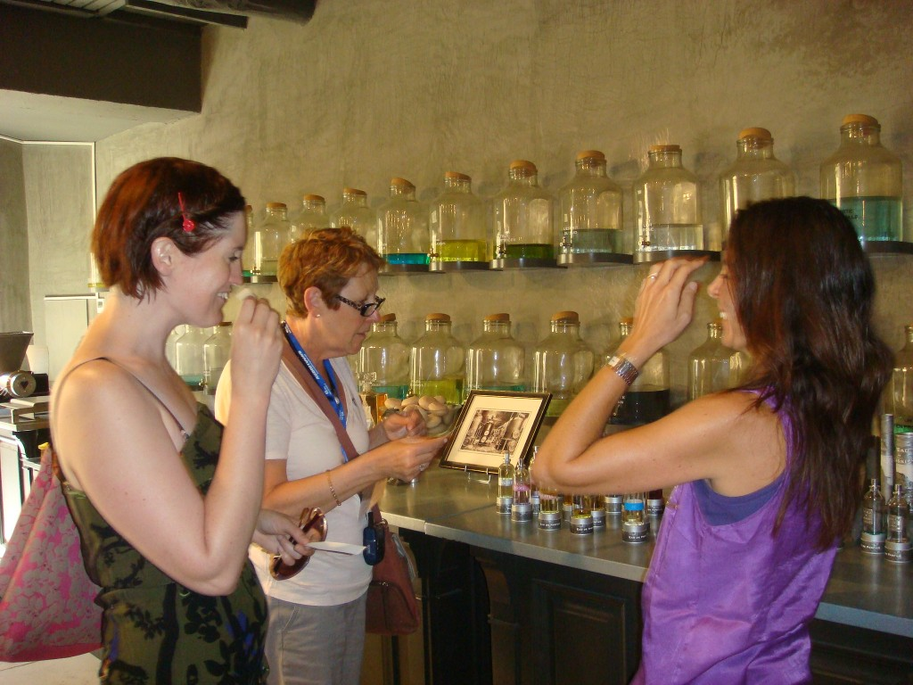 Pam at the perfumery, Cassis, France.  2011