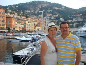 Pam and Michael fresh of the tender, Villefranche-Sur-Mer. France 2011