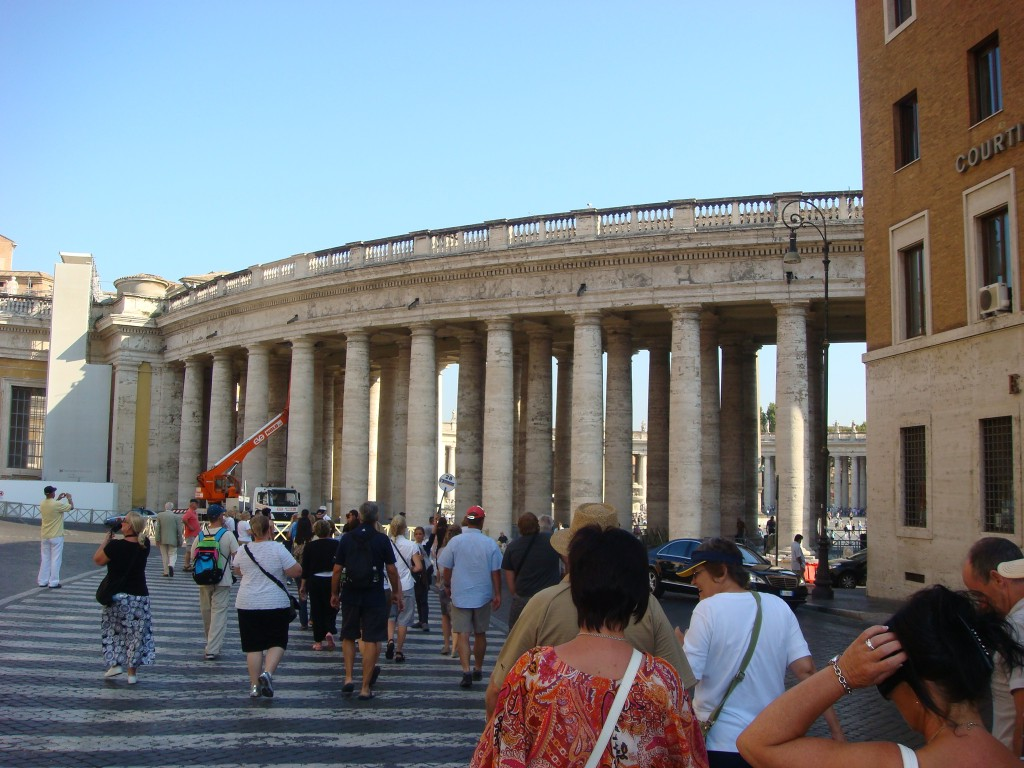 Walking into Saint Peter's Square, Rome, Italy.  2011