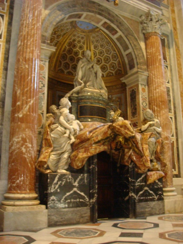 One of the many beautiful sculptures in the Basilica, The Papal City.  2011