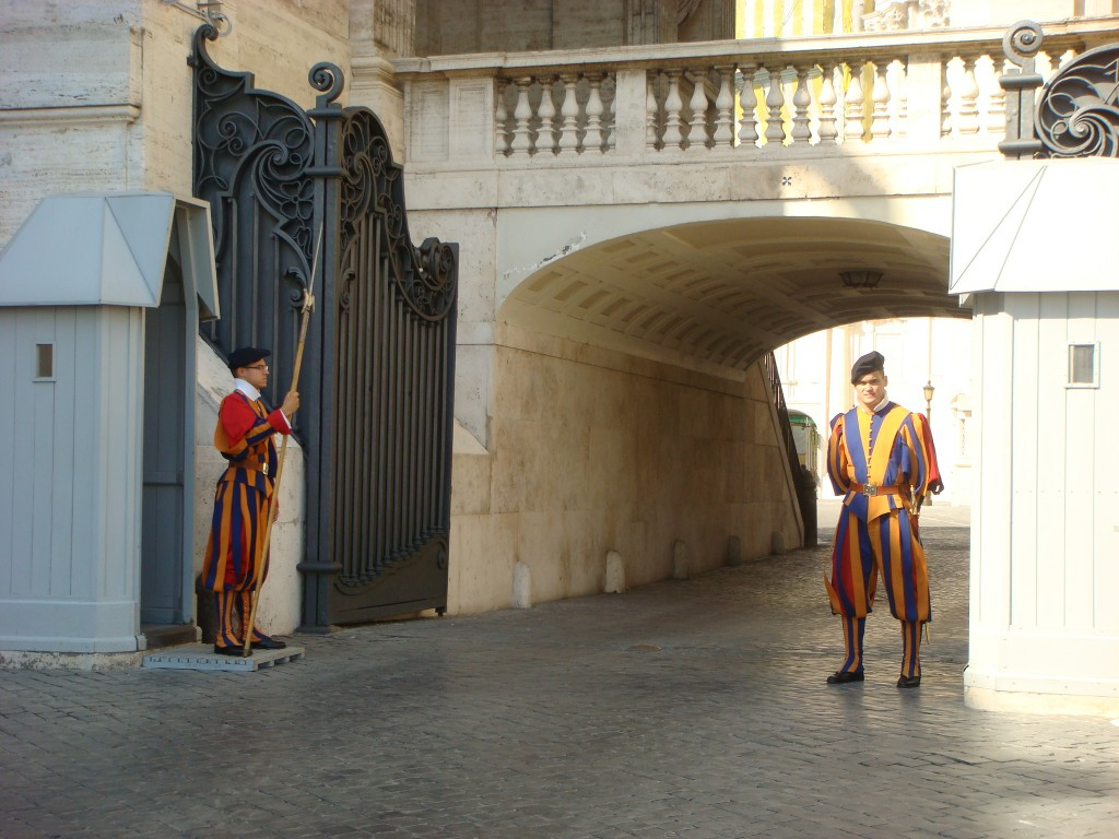 The Swiss Guards doing their thing, The Papal City.  2011