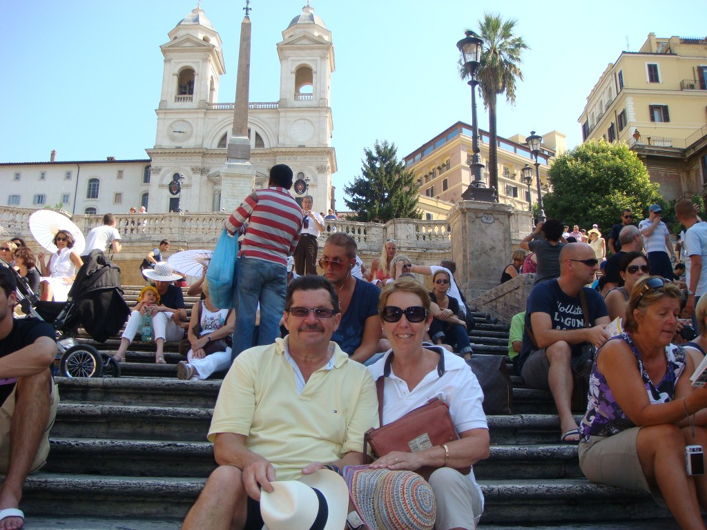 Michael and Pam taking in the 'Spanish Steps', Rome, Italy.  2011