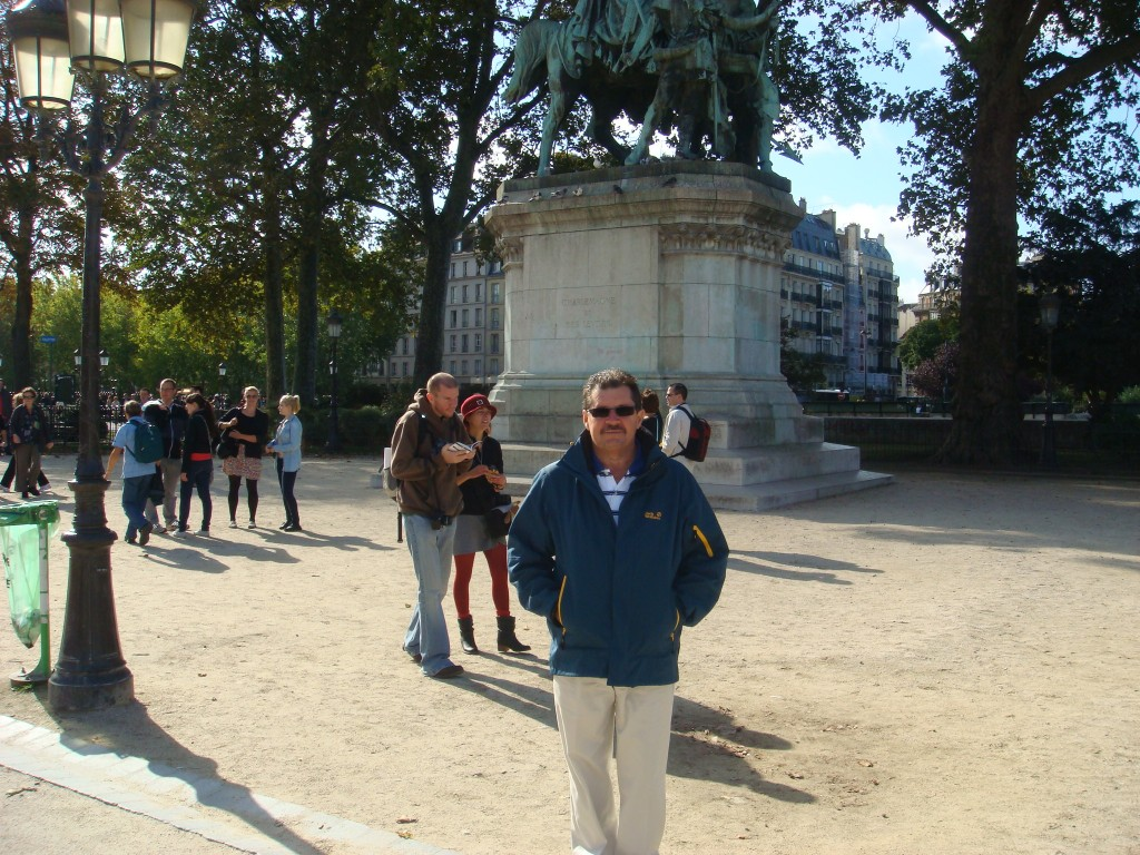 Michael wearing big boy pants, Paris.  2011