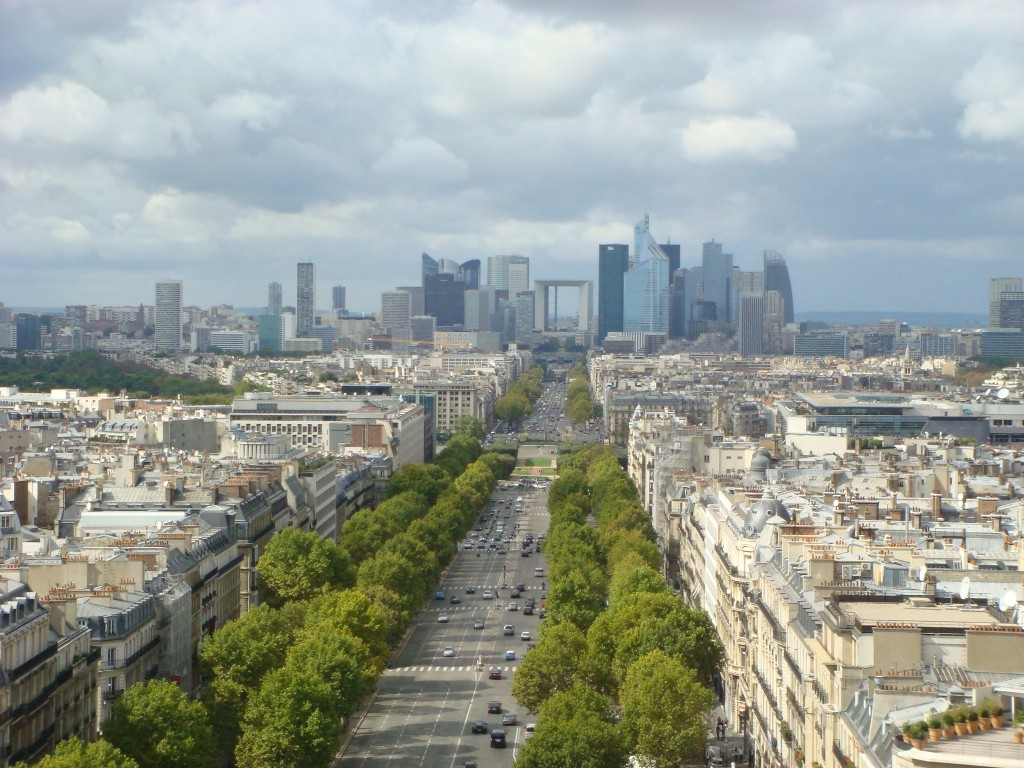 La Defence and the Grande Arche from the top of the Arc de Triomphe, Paris.  2011