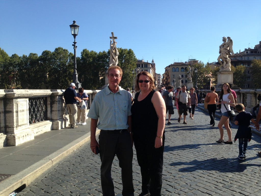 Rod and Julie cross the Tiber for the first time. Rome.  2013