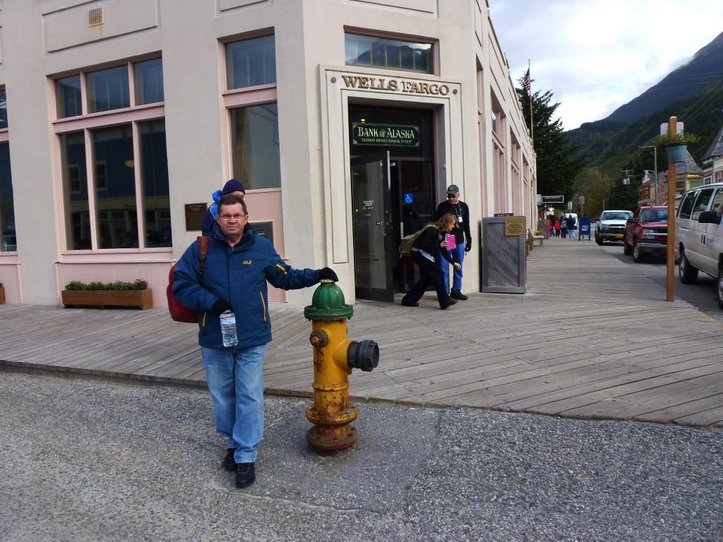 Real timber boardwalks and a fire hydrants, Skagway, Alaska.  2012