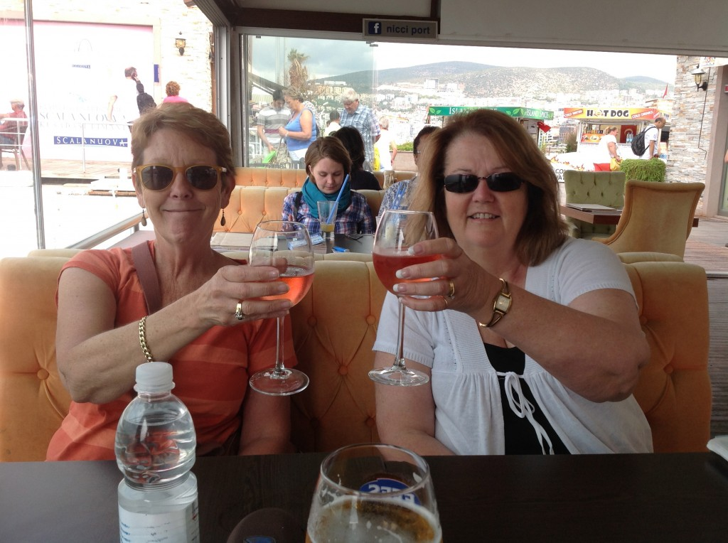 Pam and Julie in recovery mode, Kusadasi, Turkey.  2013