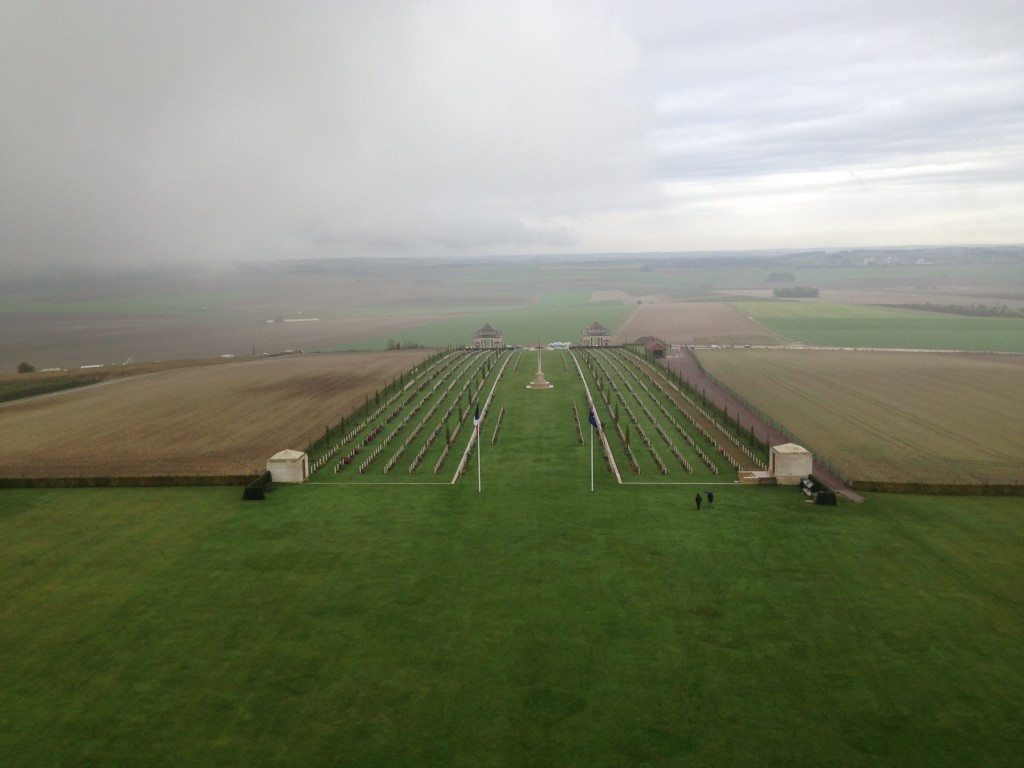 A misty morning, The Adelaide Cemetery, Villers-Bretonneux, France.  2013