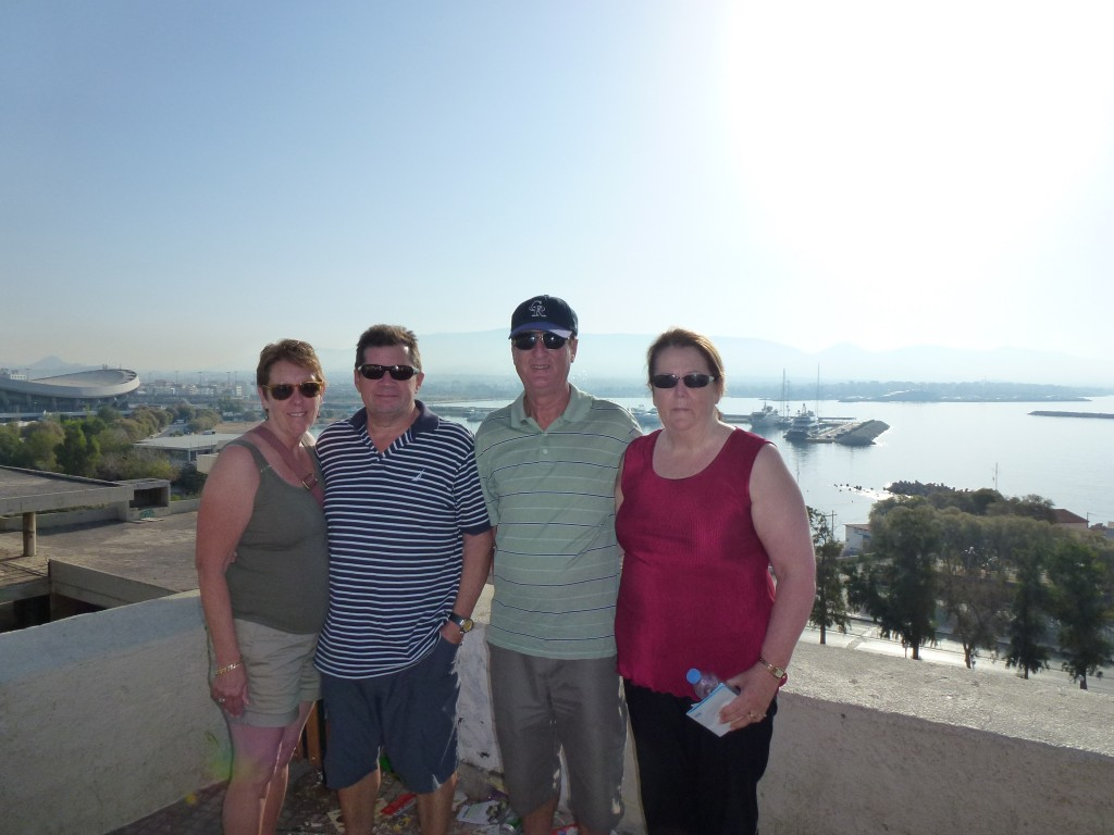 Pam, Michael, Rod and Julie, our first view of Athens, Greece.  2013