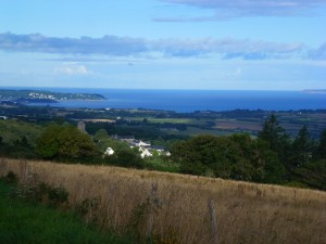 From La Motte, Locronan in the valley below and the waters of the Crozon peninsula in the distance, Brittany.  2014