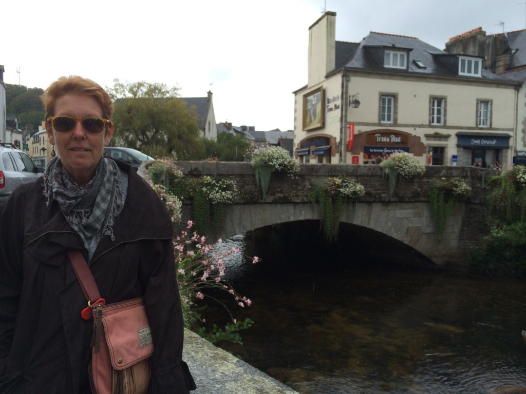 Pam dodges the Drizzle at Pont Aven, Brittany.  2014