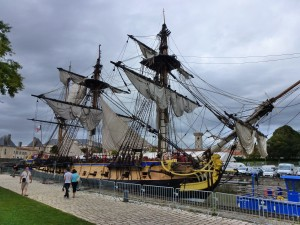 The Chantier de I'Hermione at dock in Rocheford, France.  2014