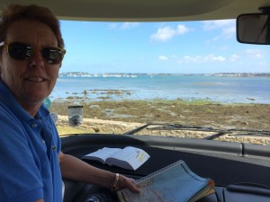 Pam finds our lunch spot in Saint-Pol-de-Leon.  Brittany, France.  2014