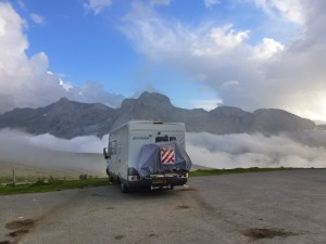 Our Hymer deserves a rest after that hill.  France.  2014