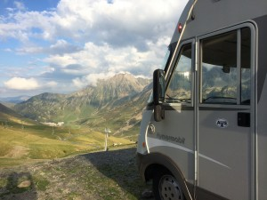 Hymer takes a deep breath at 2115 metres, Col du Tourmalet, France.  2014