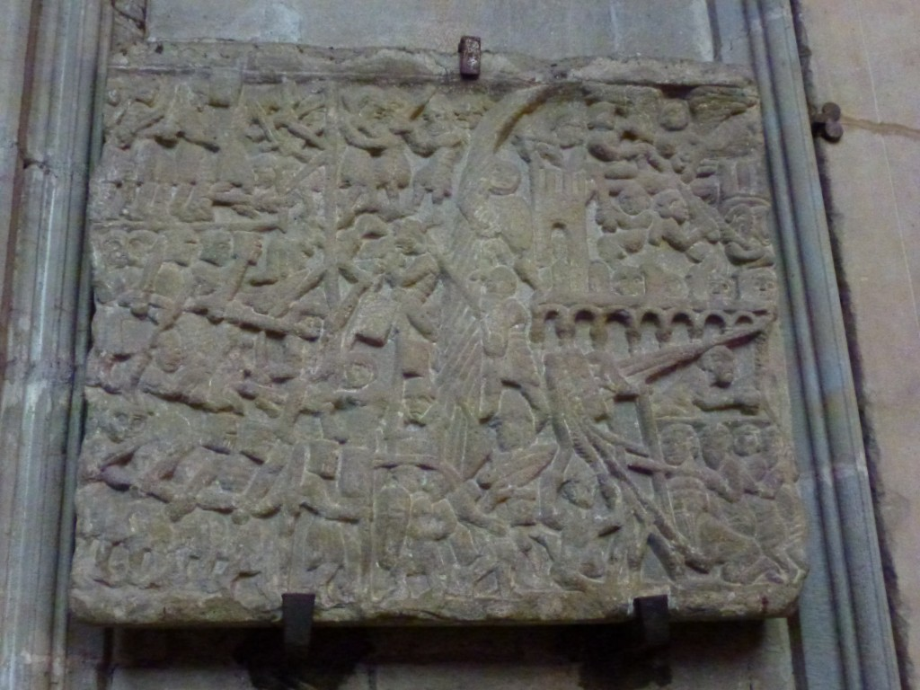 Ancient sorry stone, Carcassonne Cathedral, France.  2014