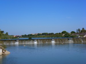 The weir at Lattes looked a challenge until we found the lock to get around it. France.  2014