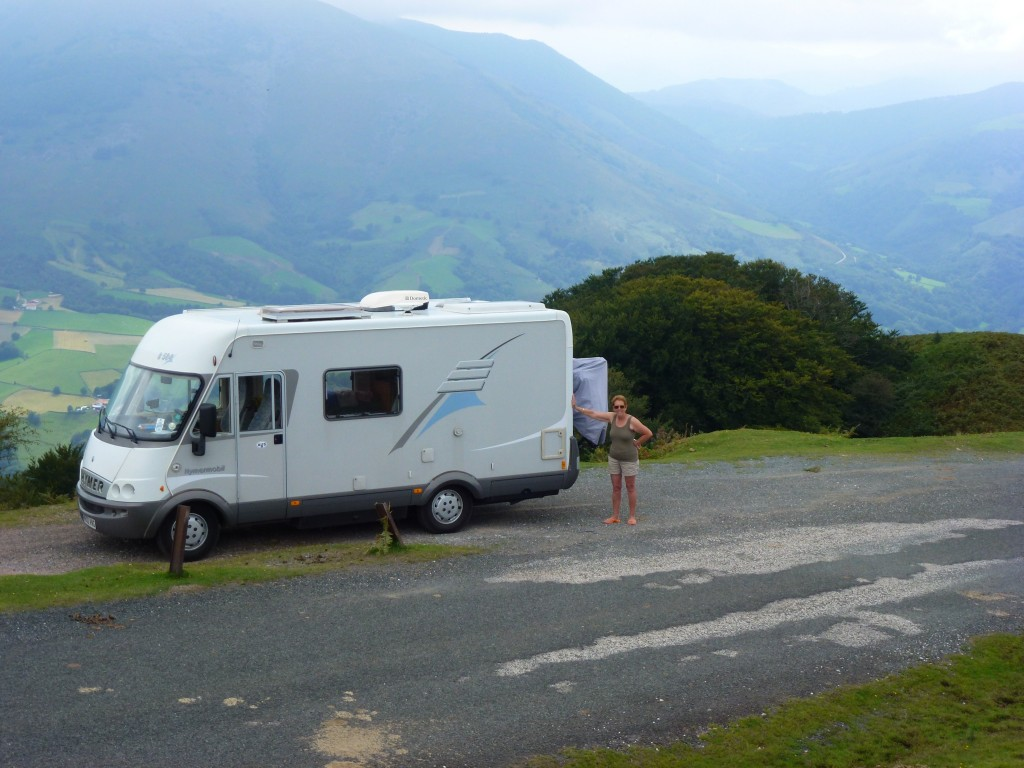 Stopping for lunch on our way down, camper car style, Spain.  2014