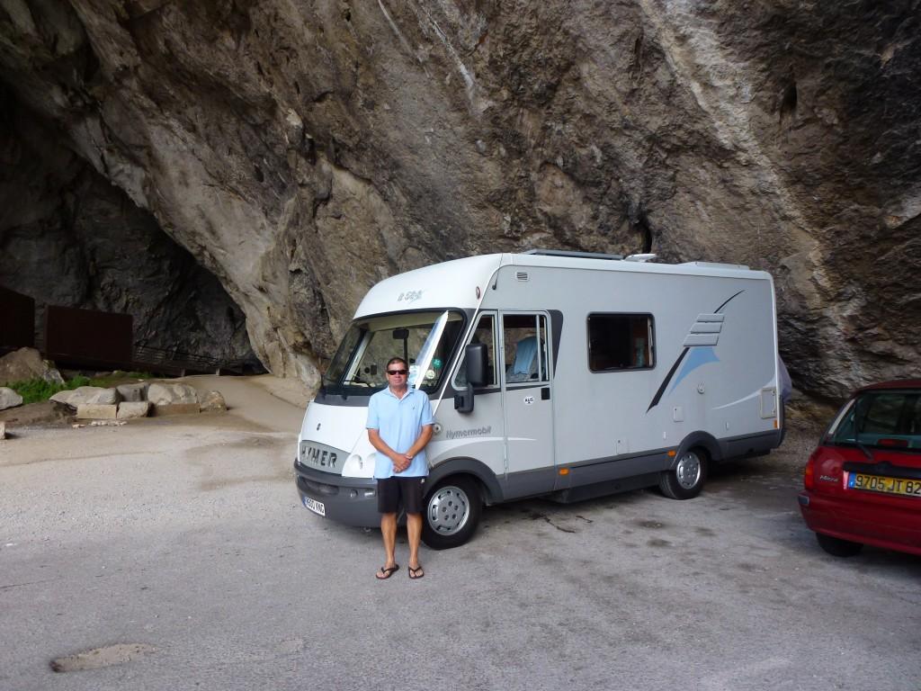 The Hymer at Grotte de Nouix, France.  2014
