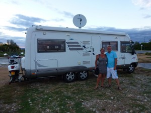 Jeanne and Martin and their Hymer, The White Whale.  Spain.  2014