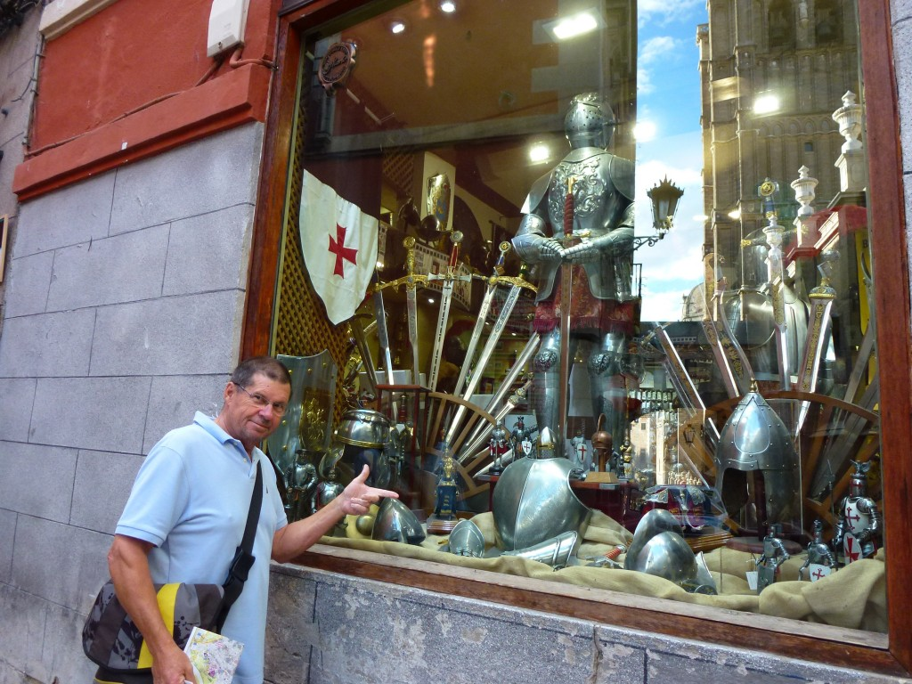With 50 swords for sale in each of the 49 sword shop, getting just the right sword is easy, we found finding the matching jousting stick much harder to find ? Spain.  2014