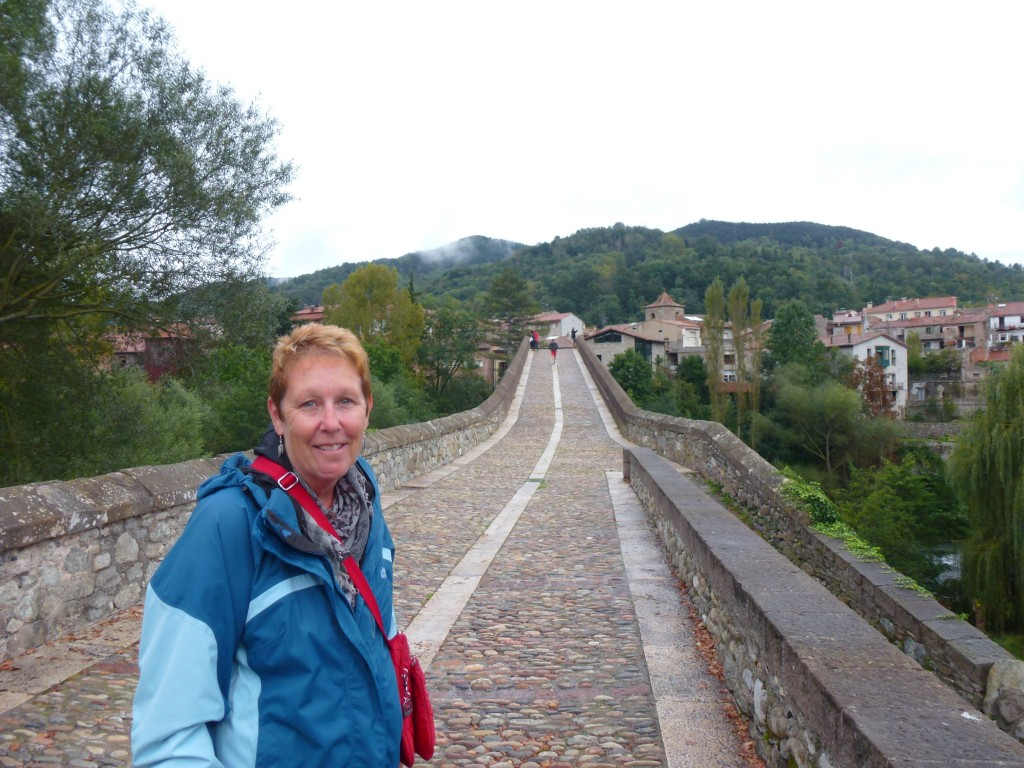 Pam and another 1000 year old bridge.  Spain.  2014