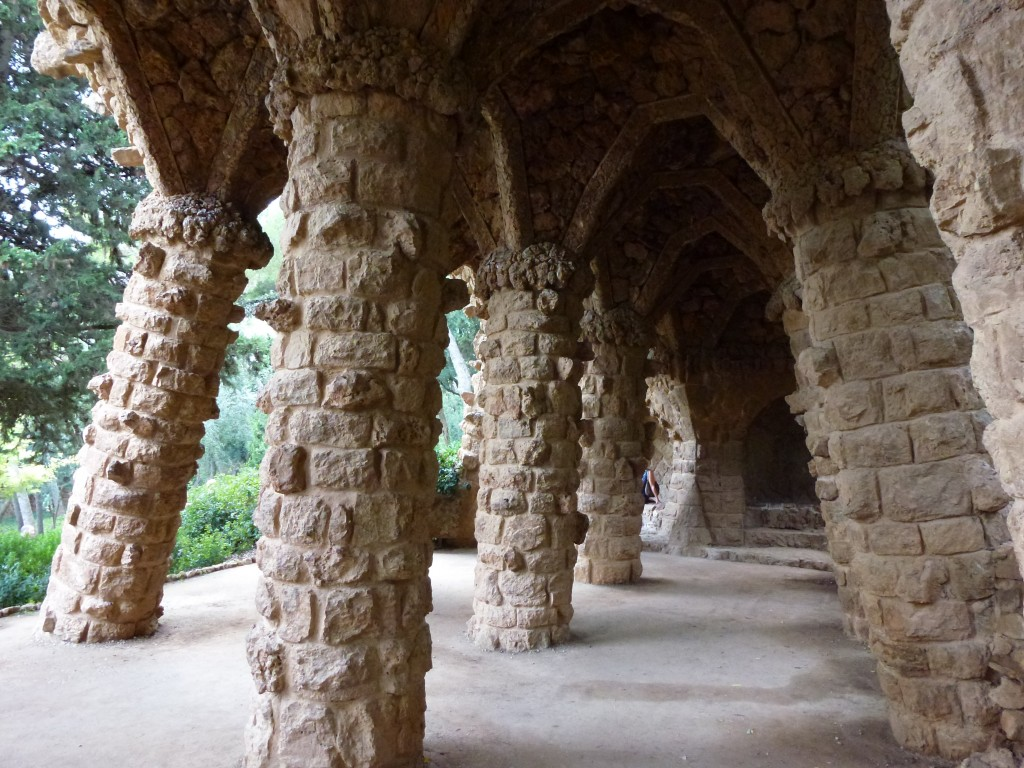The park designed by Gaudi, lots of old stone columns at odd angles.  2014