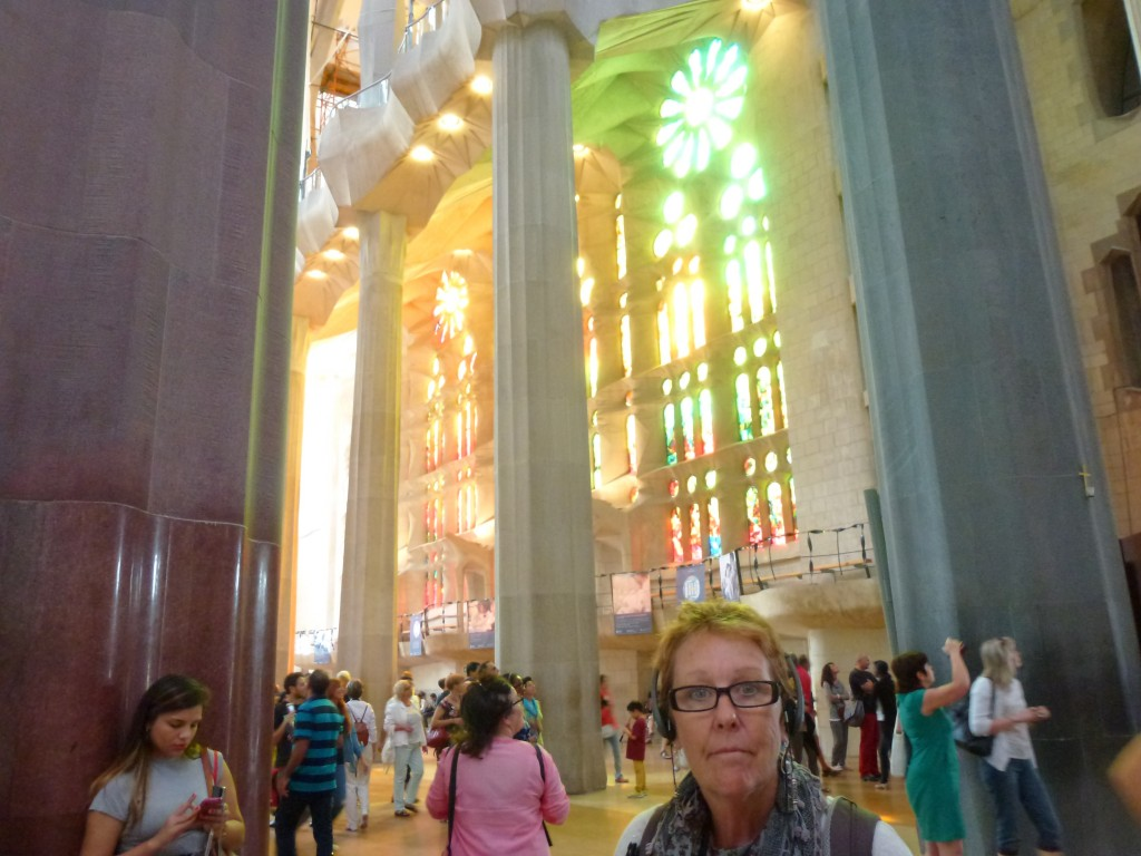 The stain glass is all about the colour rather than the story, Barcelona, Spain.  2014