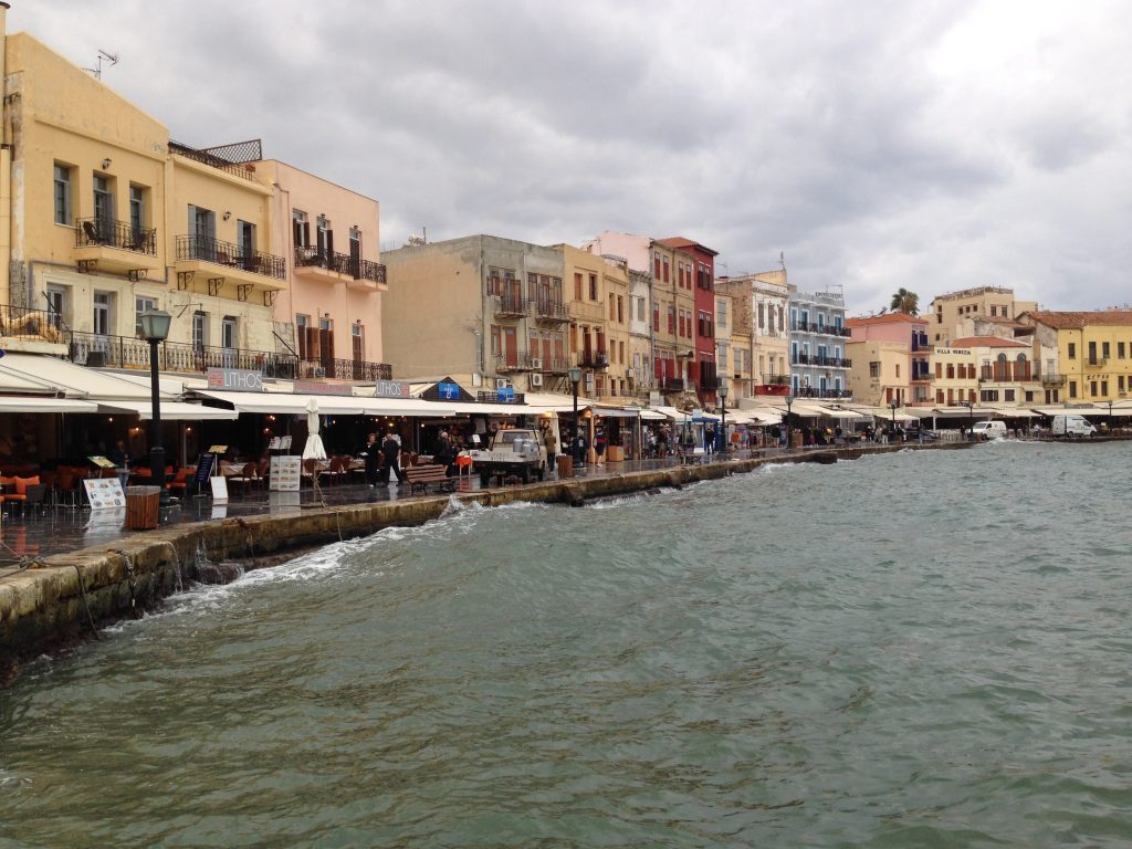 Chania waterfront on the high tide.