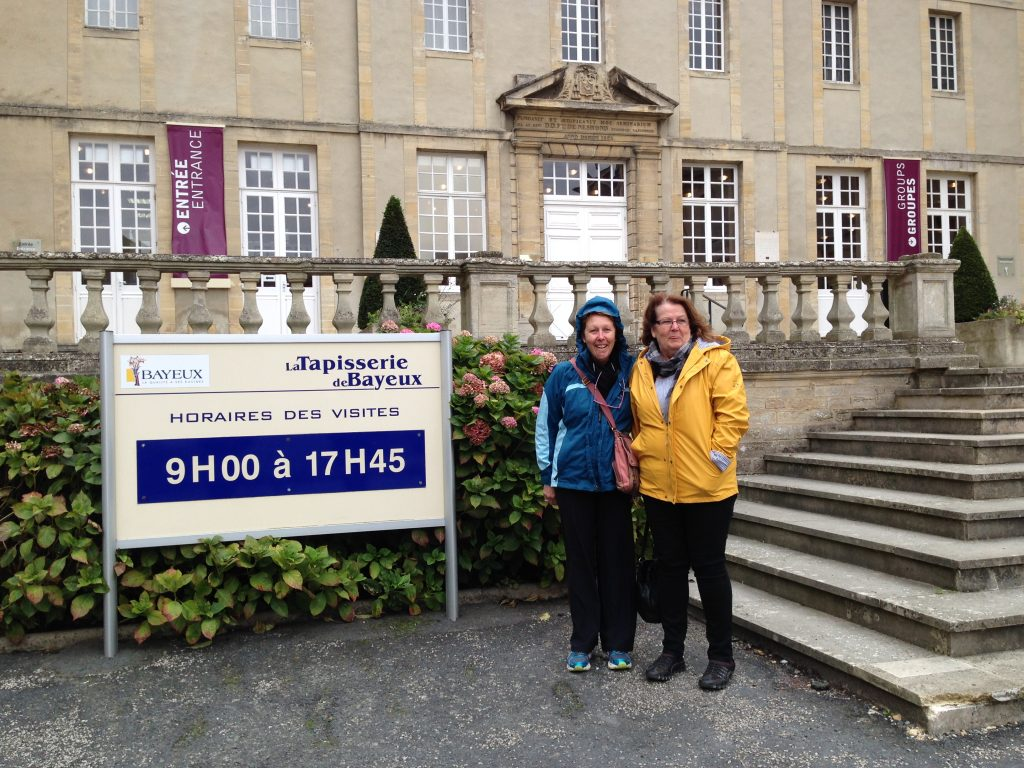Pam and Julie enjoying the early Autumn weather, Bayeux