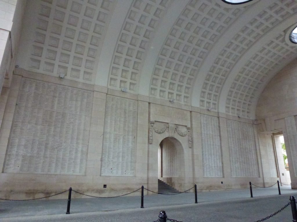 The Menin Gate, inscribed with the names of 54,896 Commonwealth Soldiers with no known graves.
