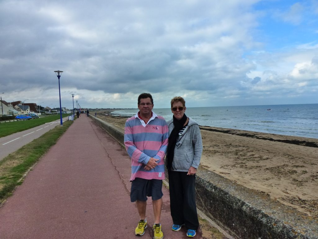 Walking Sword Beach where Pam's Father Des worked on D Day