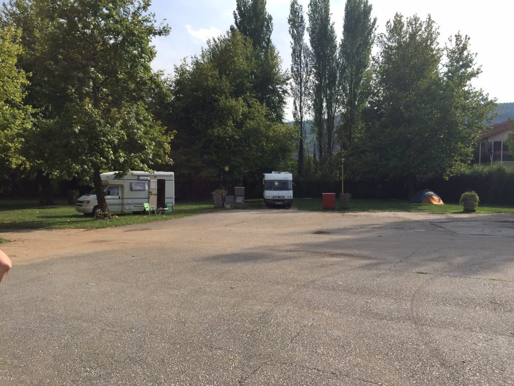 Our campsite in Ioannina, the proprietor was a most charmless fellow.  Looked like Mario Milano but must have had his money in the Shanghai Stockmarket.