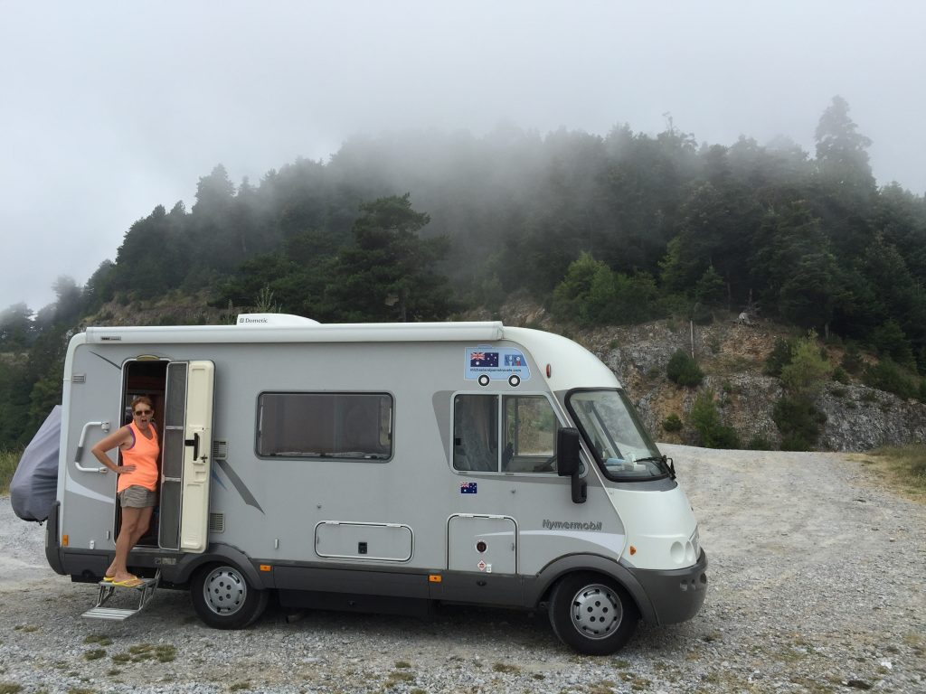 Our Hymer in the mist, on Mount Olympus. It's much cooler than on the coast.