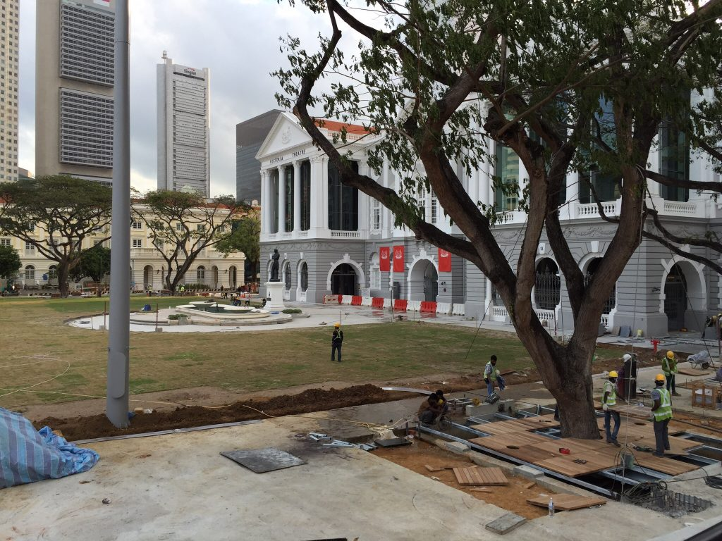 Like so much of Singapore, old government house is a building site.