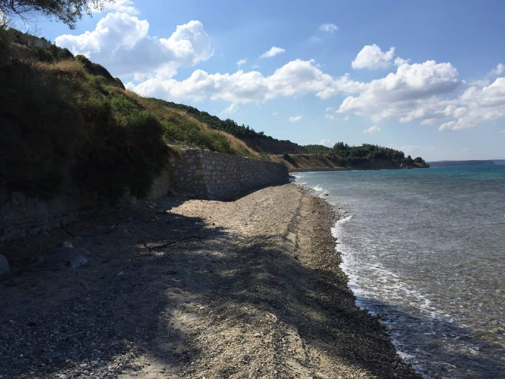 Anzac Cove, with the erosion and the new road, it cannot be walked without wet feet.