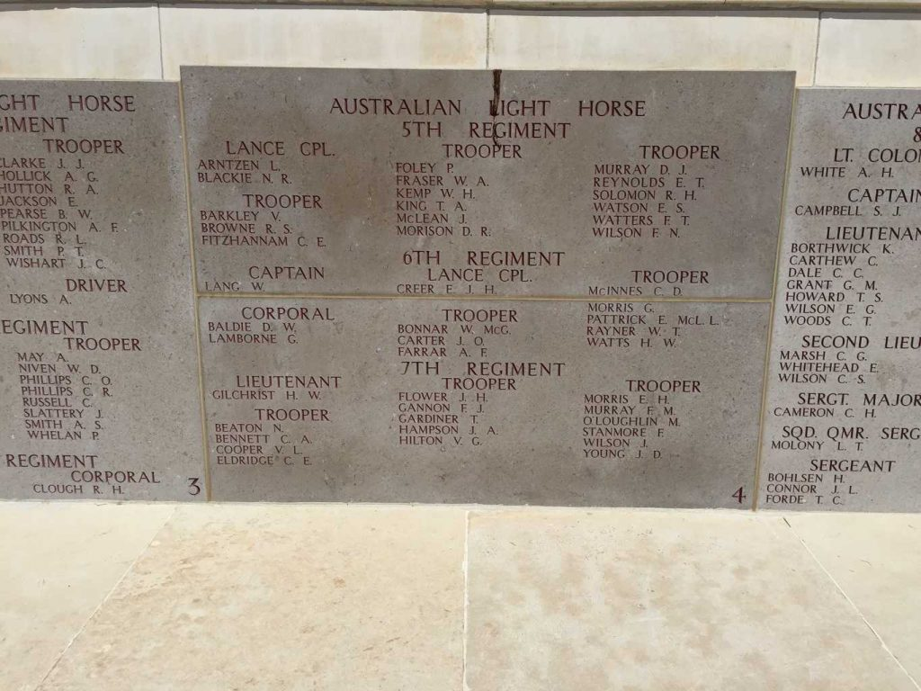 Part of the memorial wall indicated the names of the Lighthorseman lost with no known grave. What struck us is there are cemeteries all over Anzac, yet the walls here commemorate 4228 Australians and 708 New Zealanders with no known grave at Anzac