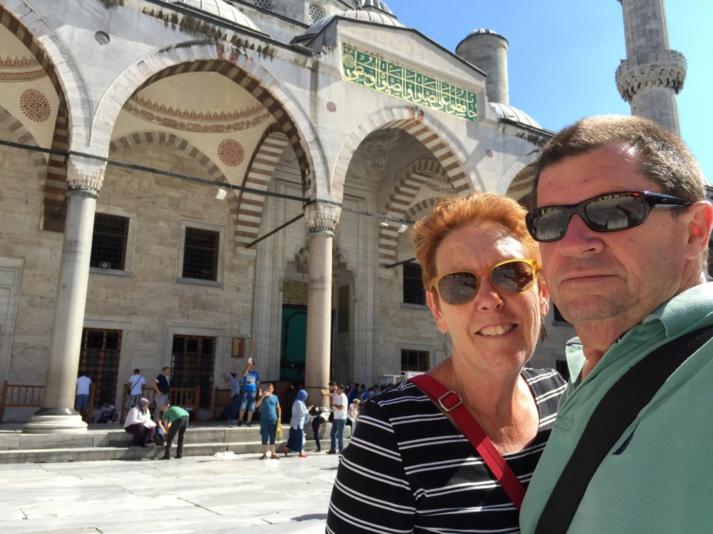 Our first afternoon was a visit to the Blue Mosque. To be honest we were a bit under whelmed. It is a large and very complex building with its domes and minuettes. But inside it was very dull and drab. We thought more a grey than blue.