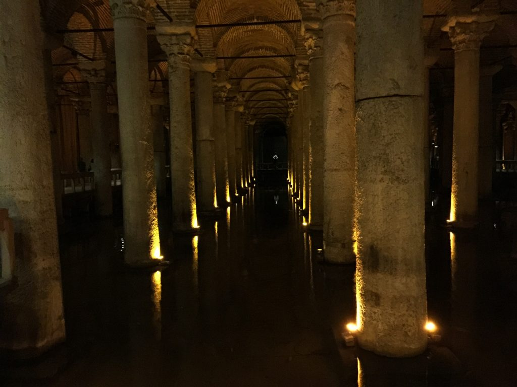 We visited the Basilica Cistern in the late afternoon. Apart from being lovely and cool, it was an amazing structure built adjacent and underneath the Aya Sofya.