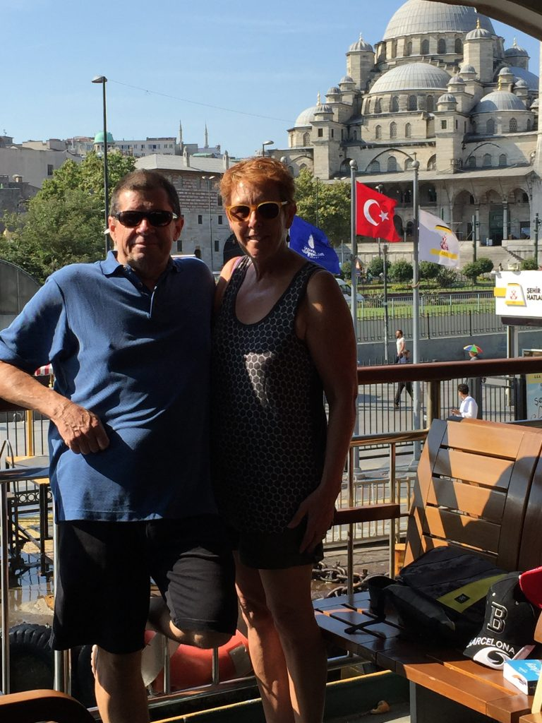 On board the ferry and ready to go. The huge mosque at Eminonu in the background.