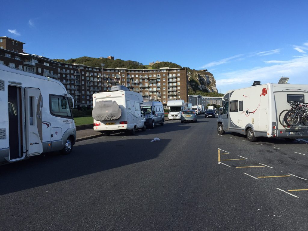 Our parking spot for the night. Marine Parade, Dover. Nice view and the price was right.